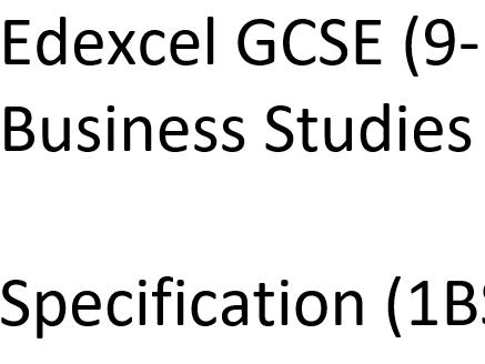 Edexcel GCSE (9-1) Business Studies  (1BSO)  Key Term List