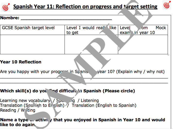 GCSE Spanish Target setting for Year 11