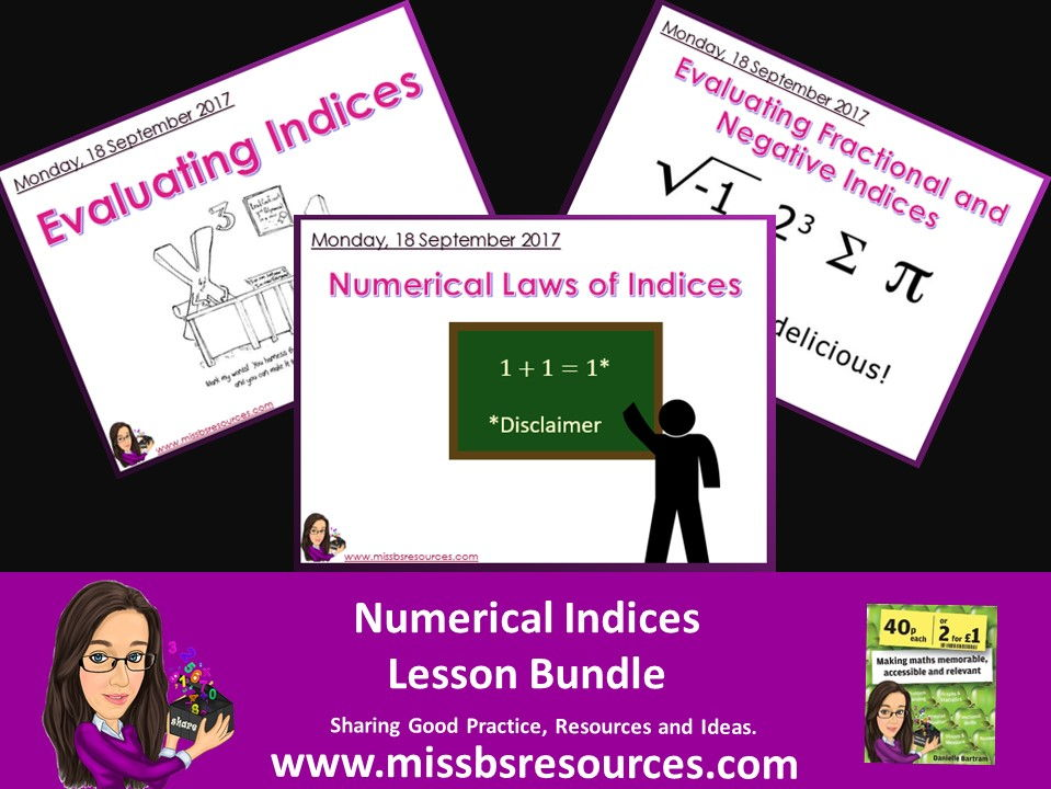 Numerical Laws of Indices (inc fractional and negative) Lesson Bundle