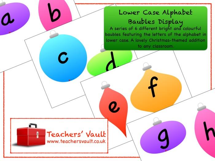 Lower Case Alphabet Baubles Display