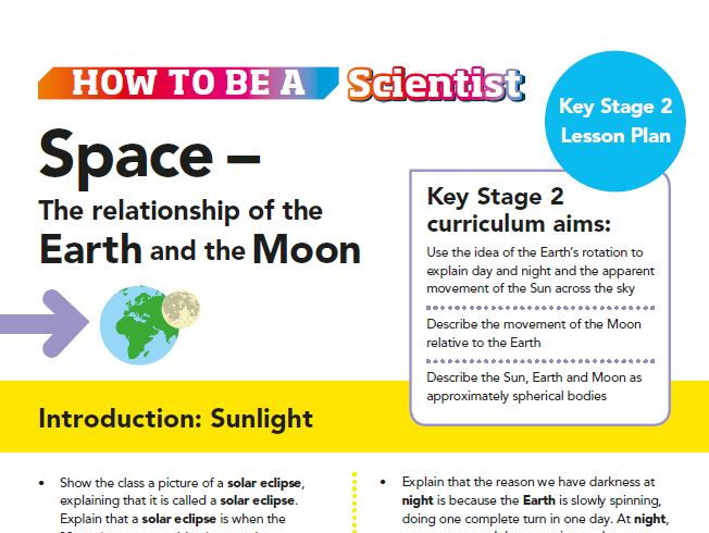 Space:The Relationship of the Earth and the Moon Lesson Plan KS2