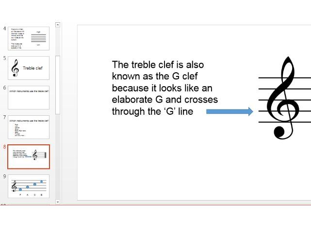 Pitch notation basics - reading note names treble and bass clef stave - PowerPoint