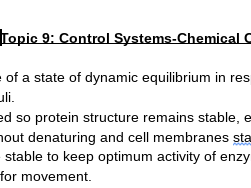 Edexcel A Level Biology Topic 9 Control Systems Chemical Control