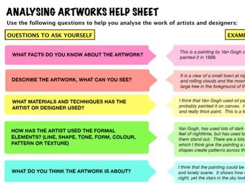 Analysing Artworks Help sheet