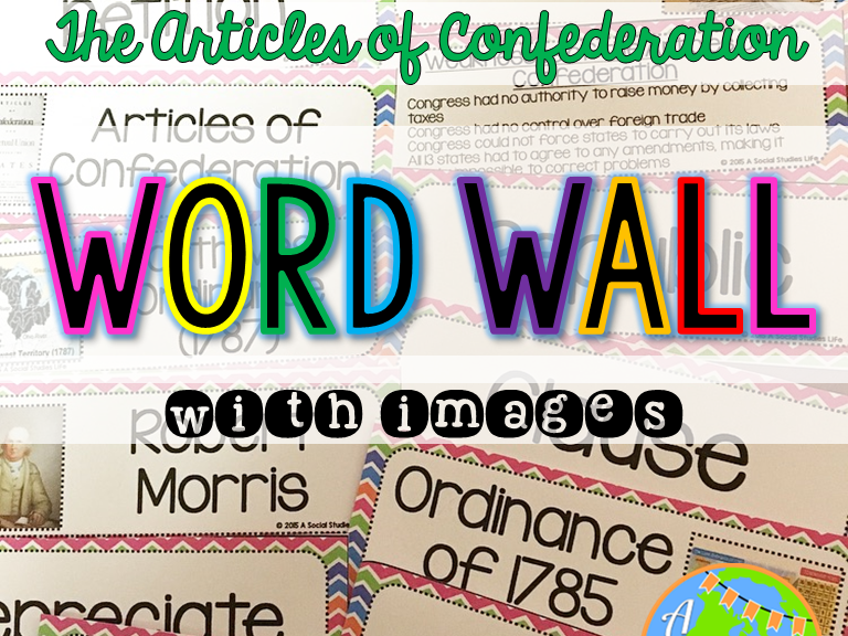 Articles of Confederation Word Wall without definitions