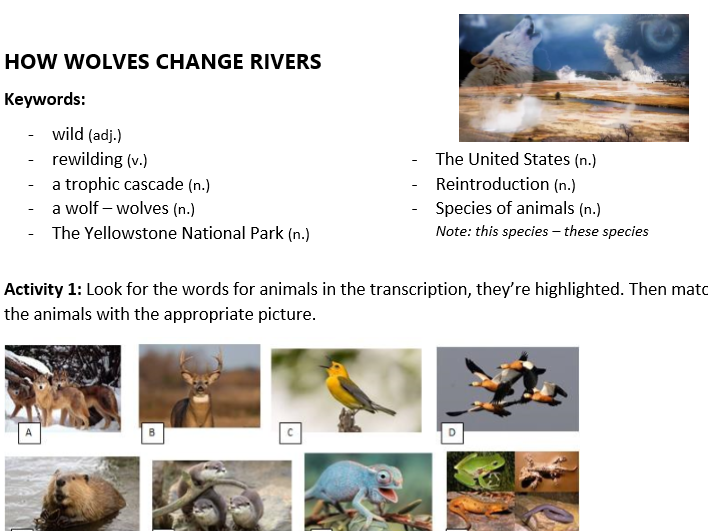 ESL Full Unit A2: How species impact on the environment