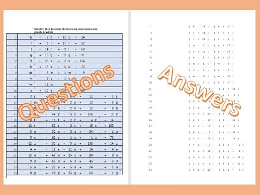 Challenging Simplifying Algebraic Expressions and then Factorising into Double Brackets Worksheet