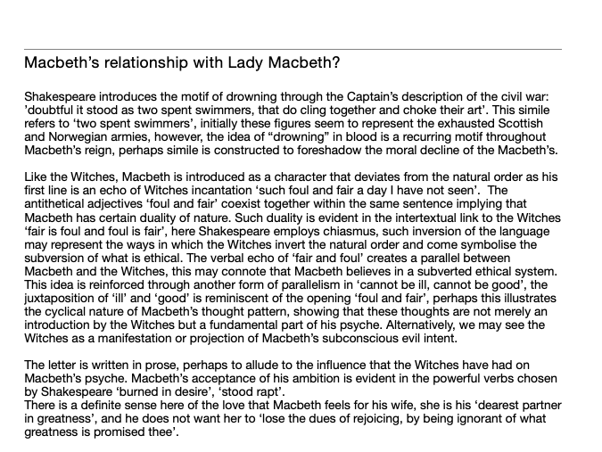 Grade 9 analysis of Lady Macbeth's relationship to Macbeth- AQA English Literature