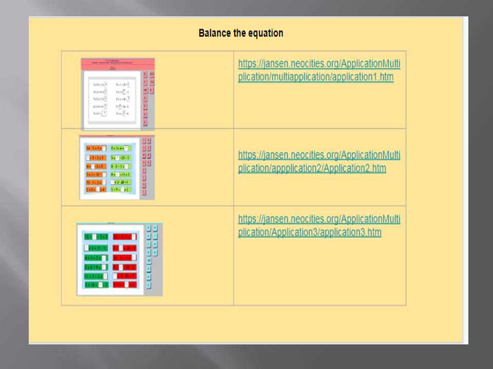 Multiplication -Balance the equation
