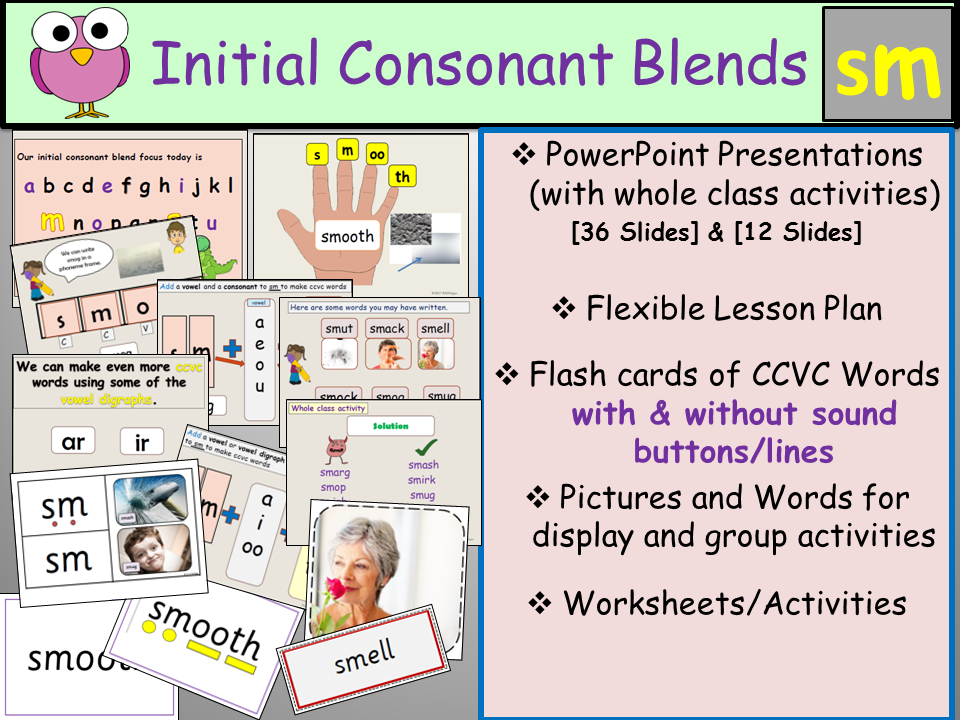 Phonics: Phase 4 Consonant Blend Sm-CCVC Words, Presentation, Lesson Plan, Worksheets, Flashcards