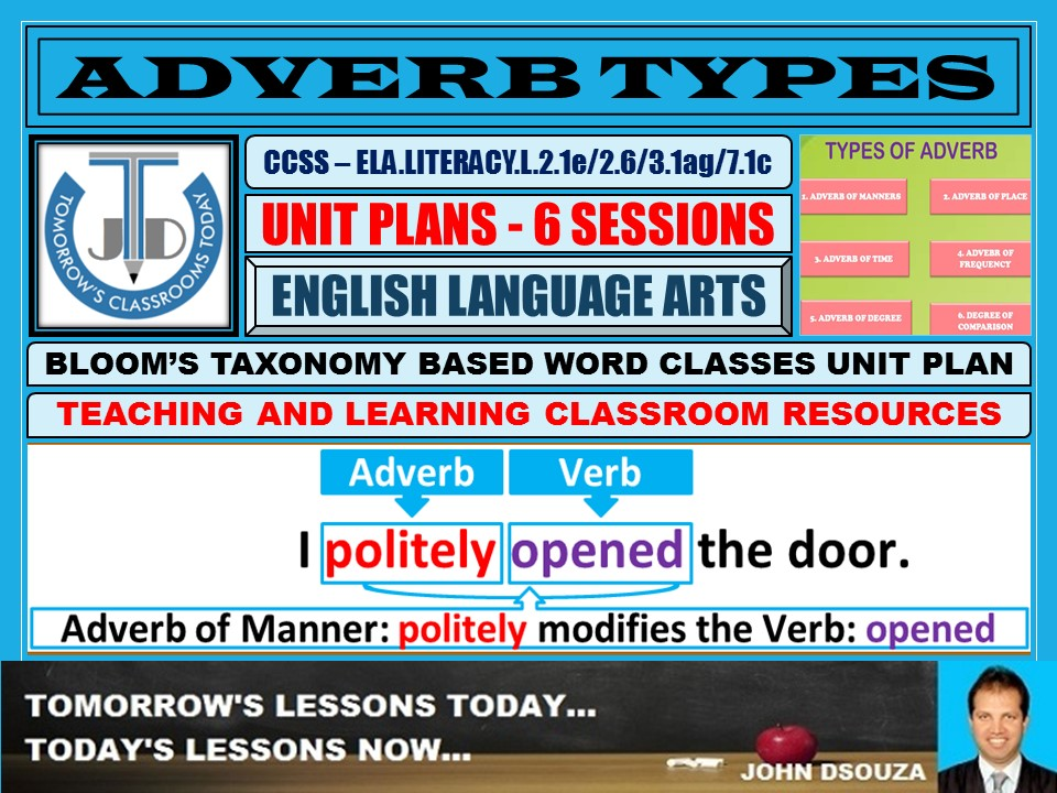 ADVERB TYPES: LESSON AND RESOURCES - 6 SESSIONS
