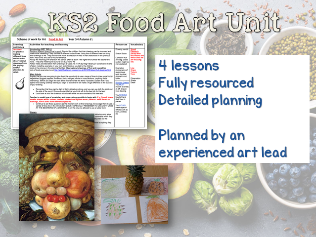 KS2 FOOD Art Unit - 4 weeks planning and resources