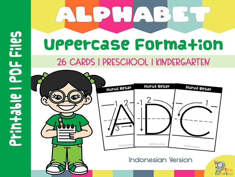 Dry-Erase  Uppercase Formation Card Indonesian Version | Kartu Ajar Huruf  Besar