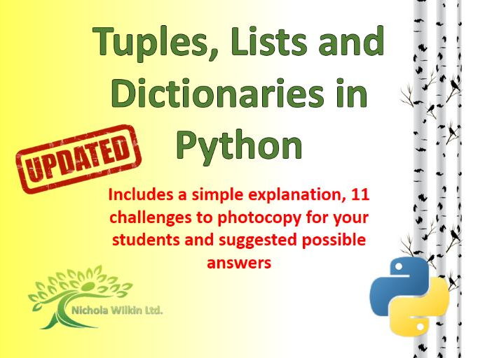 Python Tuples, Lists and Dictionaries