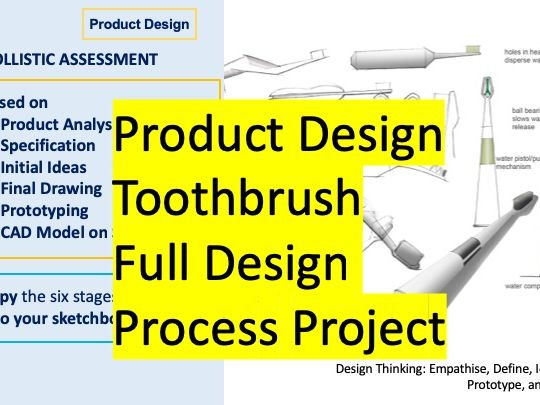 Product Design - Toothbrush (Full Iterative Design Process) Product Analysis, Specification, Initial Sketching, Isometric Drawing, CAD Modelling KS3 KS4
