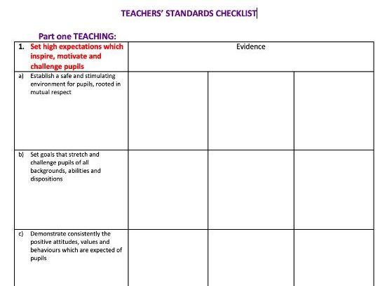 Teachers' Standards Checklist