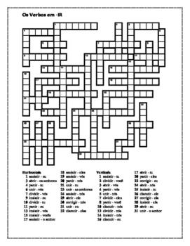 Verbos em IR (IR verbs in Portuguese) Present tense Crossword