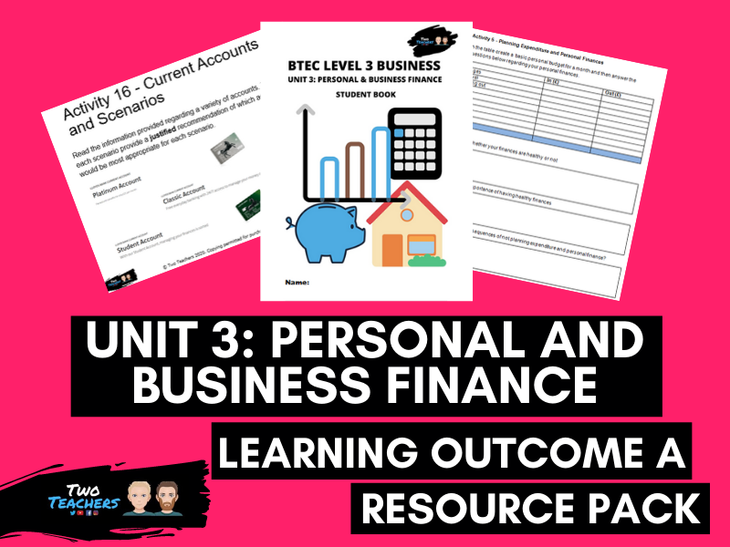 BTEC Business Unit 3: Personal and Business Finance Outcome A | PowerPoint & Student Workbook