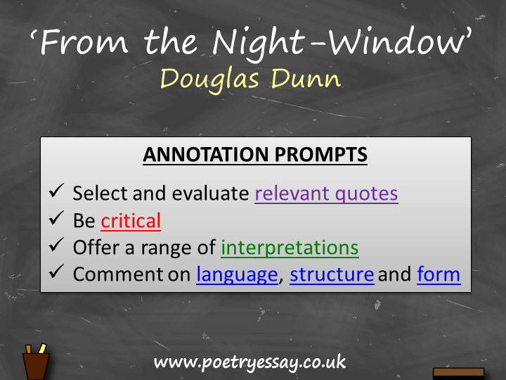 Douglas Dunn – 'From the Night-Window' – Annotation / Planning Table / Questions / Booklet