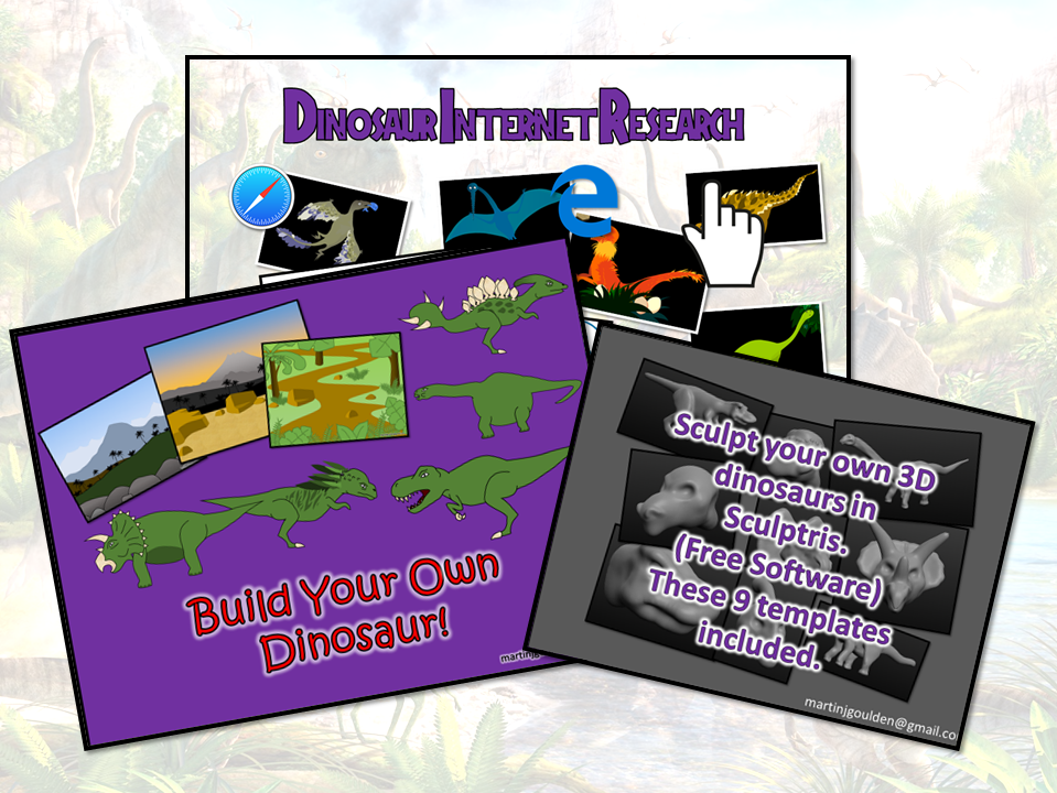 Dinosaur Mini bundle: Internet research and then create your own 2D/3D dinosaurs.