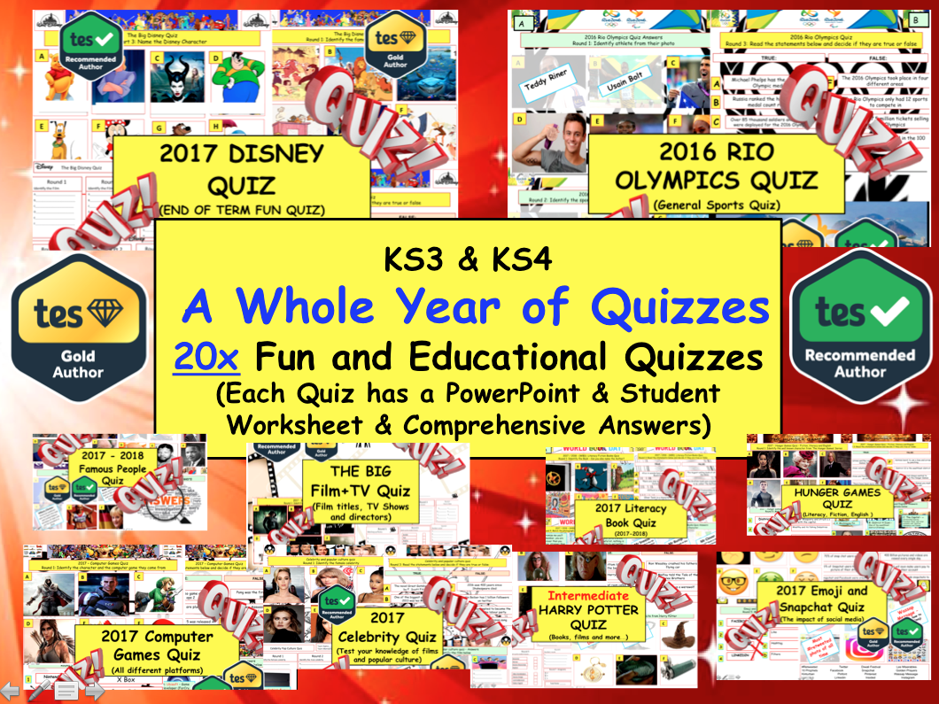Whole Year of Quizzes - 20x Fun Educational Quizzes. End of Term. Election