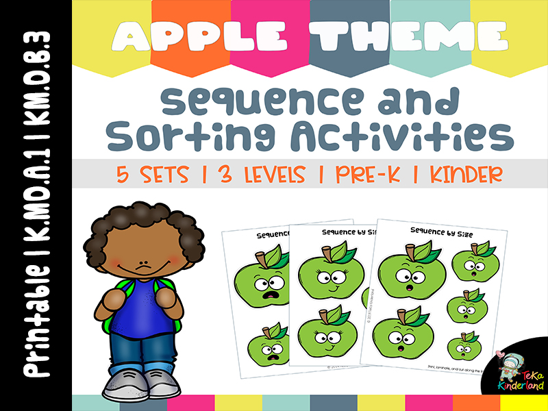 Apple Theme Sequencing by Size and Sorting Activities Printable Vol 2