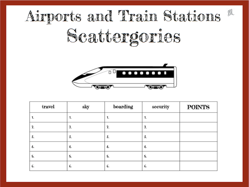Airports and Train Stations Scattergories Game - ESL - ELL