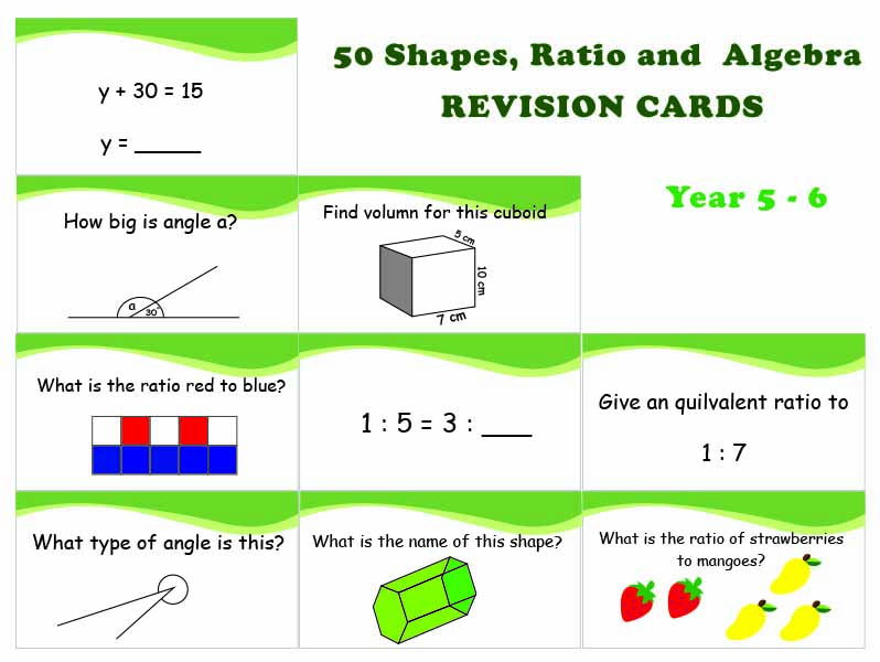 50 Shapes Ratio and Algebra revision cards