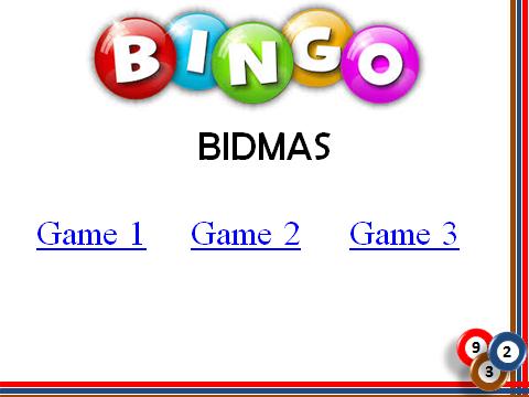 BINGO: BIDMAS