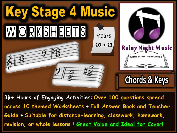 Music Worksheets Chords and Keys