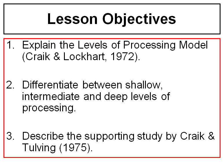 Levels of Processing Theory of Memory, Cognitive Psychology