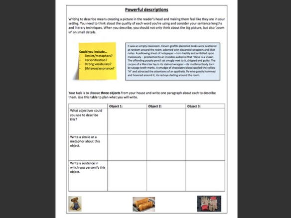 Writing a strong description -  worksheet