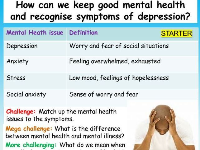 Depression: Mental Health PSHE