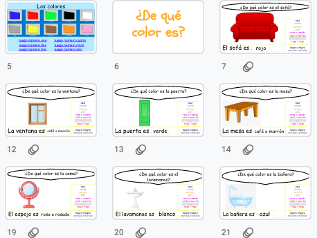 Spanish - Practise Vocabulary Lesson: Colours & house furniture