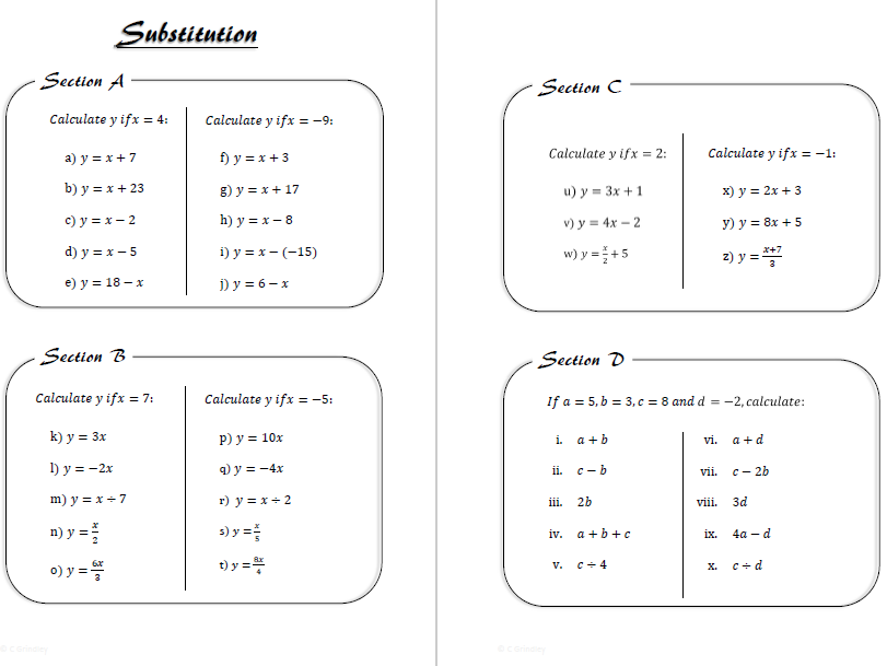 Simple Substitution Worksheet by cgrindley - Teaching Resources - Tes