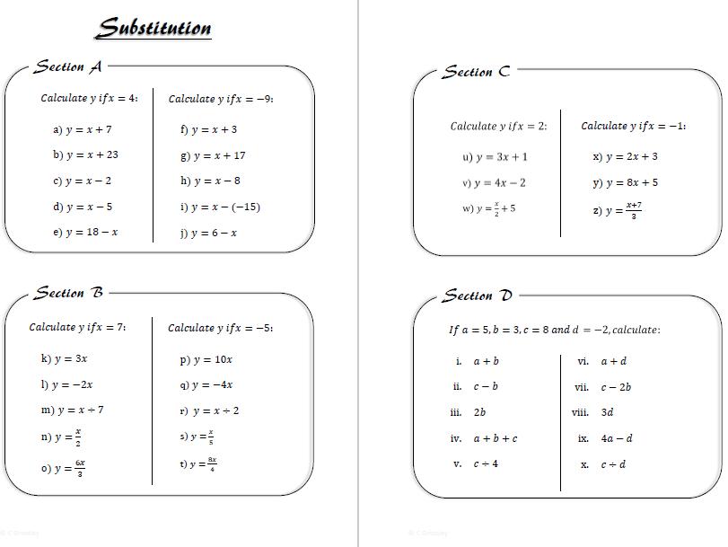 Simple Substitution Worksheet