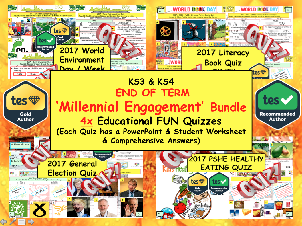 PSHE: End of Term Summer Quizzes. Millennial Literacy, Healthy Eating, Environment, politics