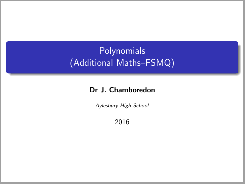 Polynomials (FSMQ / Additional maths)