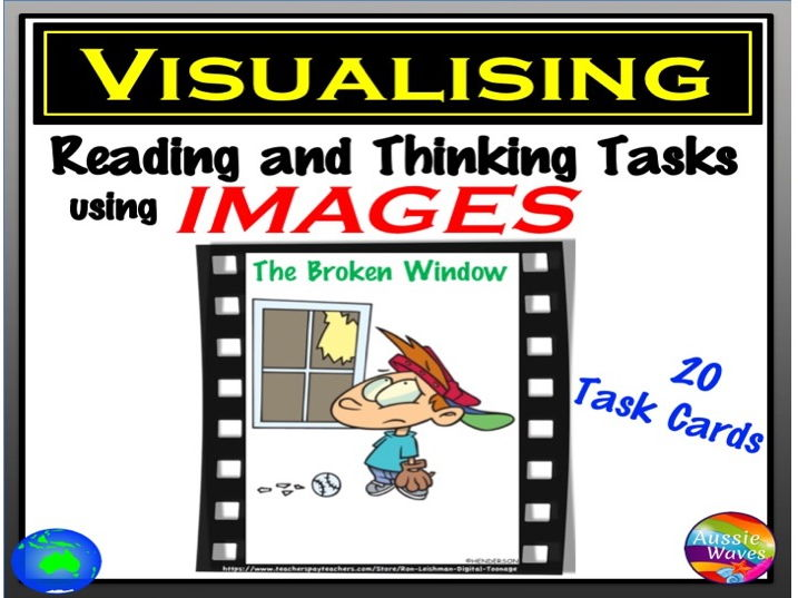 """VISUALISING Task Cards Thinking Reading & Connection Skills using Images VISUAL TEXT """"BROKEN WINDOW"""""""
