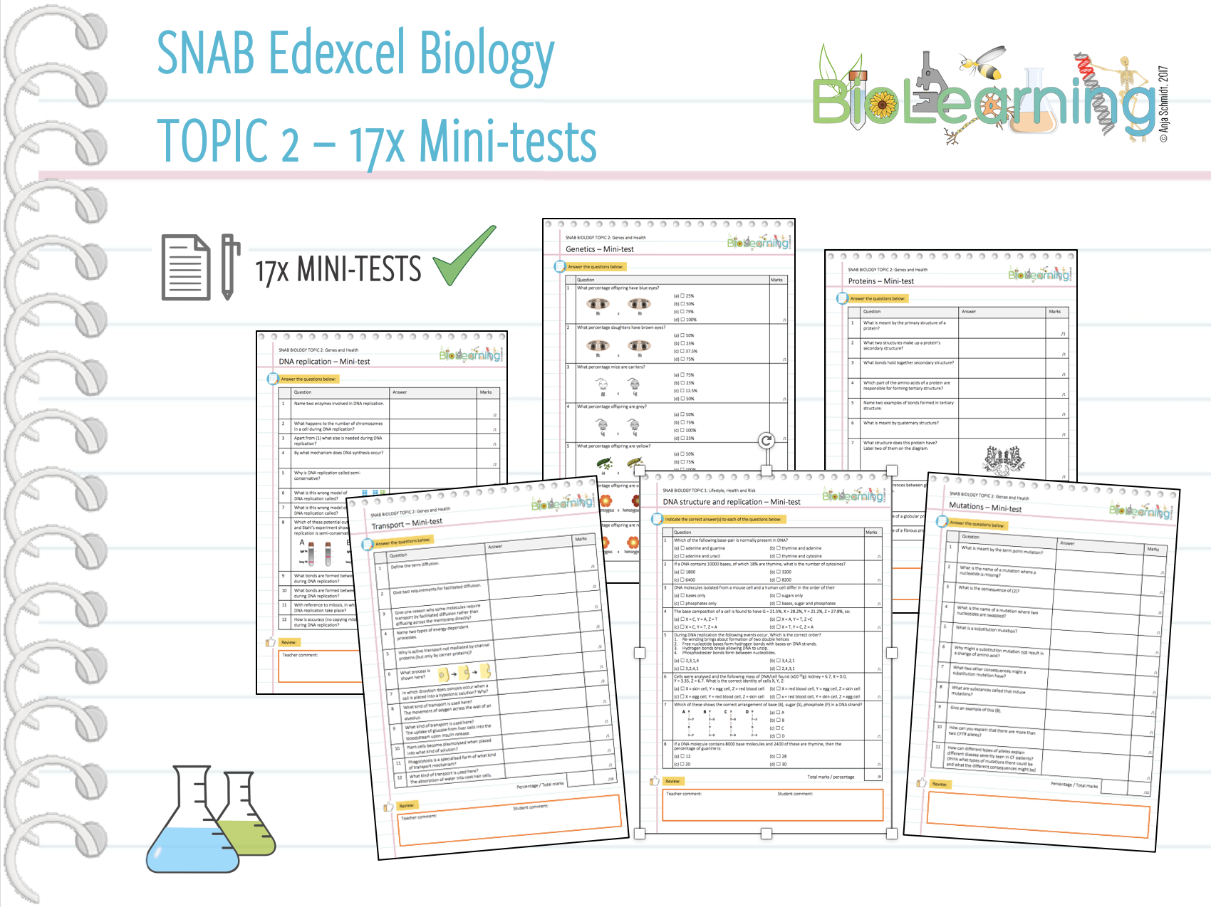 17x Mini-tests for SNAB Biology Topic 2: Genes and Health