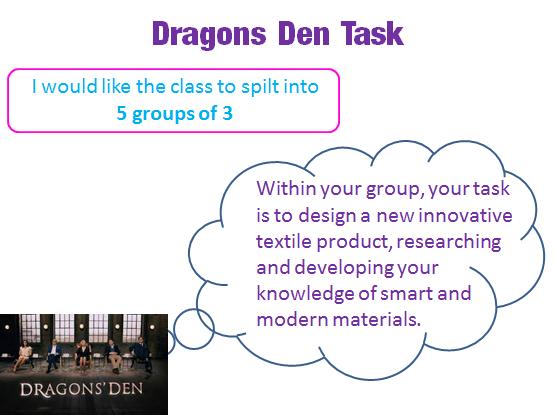 Textiles Dragon Den Task