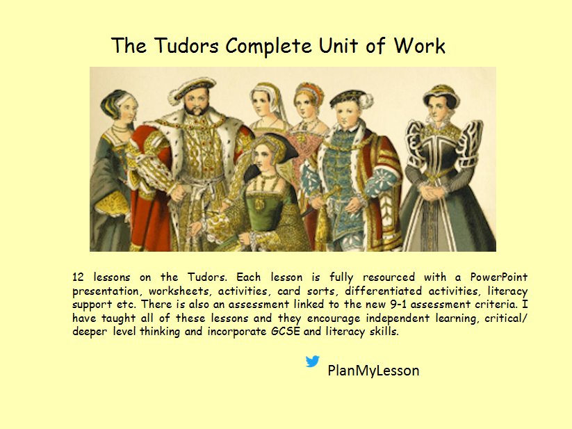 Tudor Bundle (12 fully resourced lessons & an assessment)