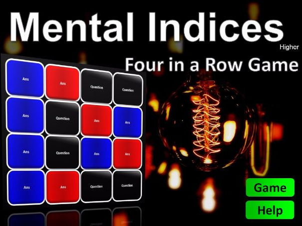 Four in a Row Interactive Quiz Game: Mental Maths Indices Higher