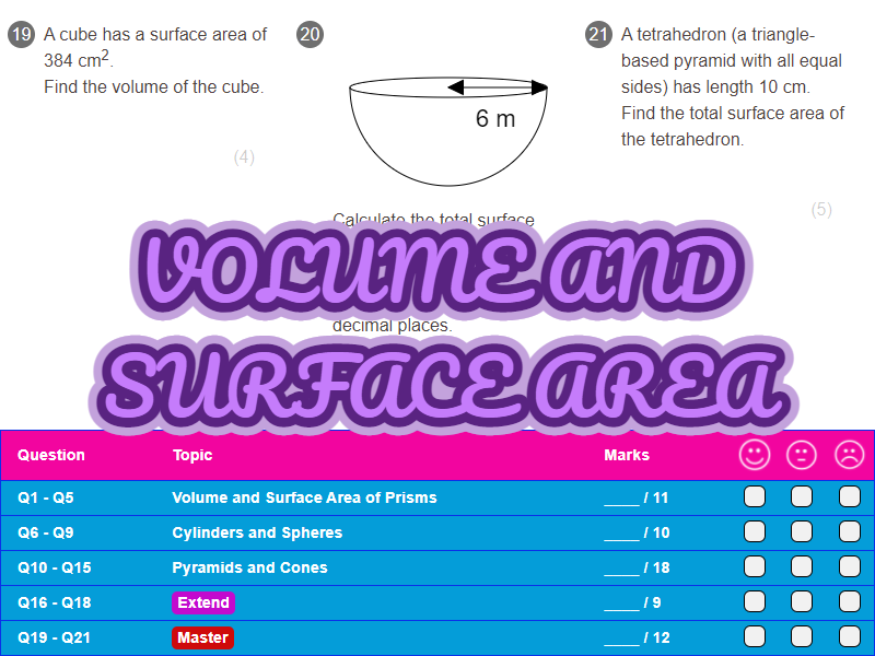 Volume And Surface Area Worksheet + Answers (Higher GCSE)