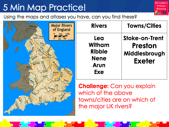 Locate the Major Rivers of the UK (Y3/4 Rivers Topic)