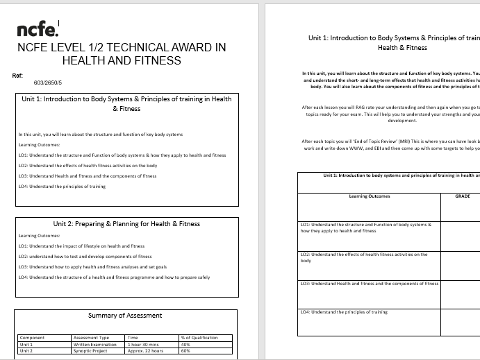 NCFE LEVEL 1/2 HEALTH & FITNESS UNIT 1 & Unit 2 TITLE PAGES