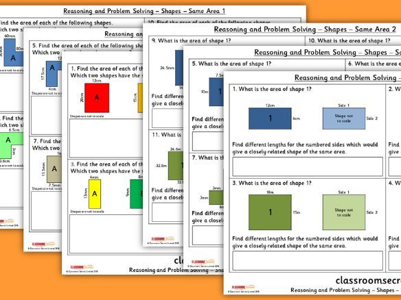 FREE Year 6 Shapes Same Area Spring Block 5 Reasoning and Problem Solving Pack
