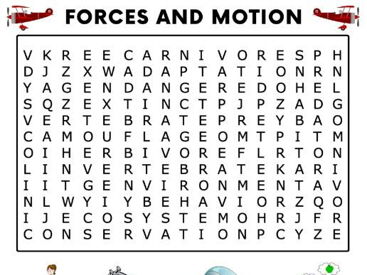 Forces and Motion Word Search Activity