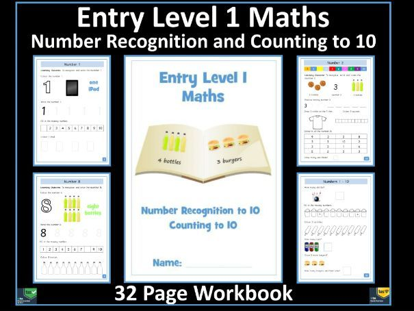 Entry Level 1 Maths: Number Recognition Counting to 10 - 32 Page Workbook