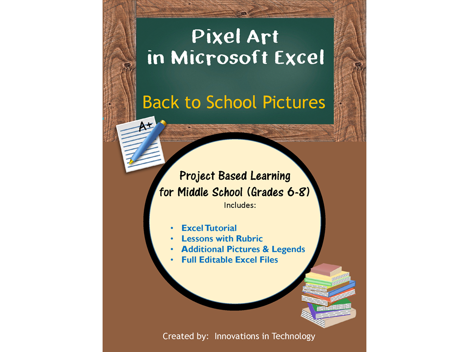 Pixel Art in Microsoft Excel - Back to School Art